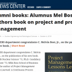 The NERS department congratulates C. Melvin Bost, Jr., on the publication of his new book.